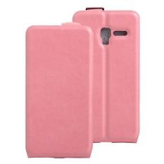 Clamshell Leather Case Dibangun Di Slot Kartu untuk Alcatel POP 3/POP 5/Pixi 3 Pink-Intl