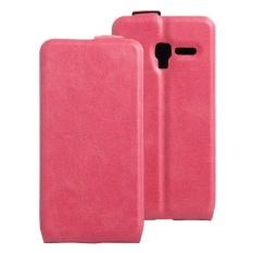 Clamshell Leather Case Dibangun Di Slot Kartu untuk Alcatel POP 3/POP 5/Pixi 3 Rose Merah- INTL