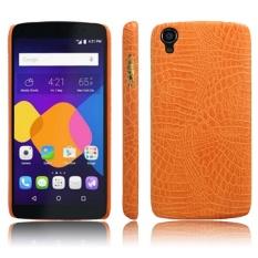 Sederhana Buaya Garis Perlindungan Penutup Belakang untuk Alcatel One Touch Idol 3 (5.5/OT6039) (Orange) -Intl
