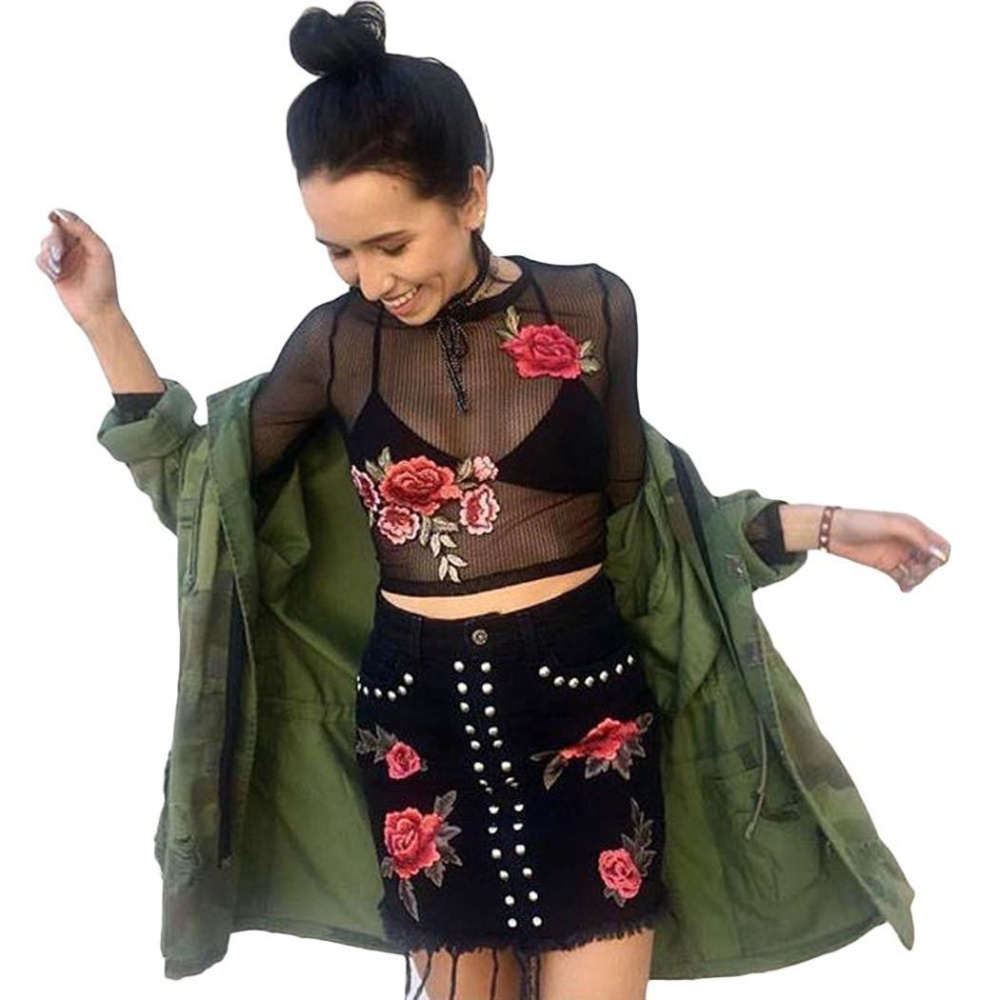 Situs Review Clearance Price Astar Women S*xy Sheer Mesh Floral Embroidery Long Sleeve T Shirt Crop Top Black Intl