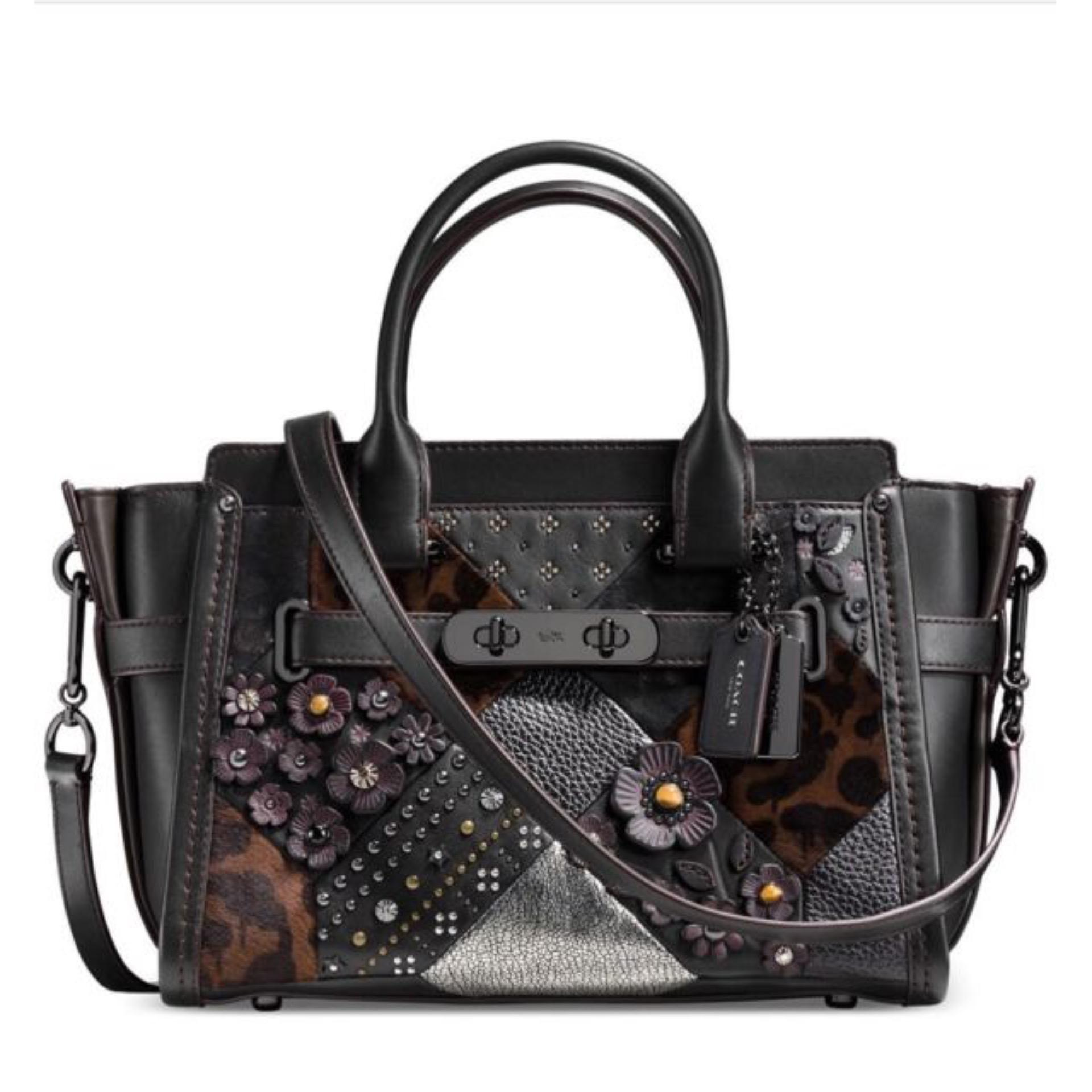 Tas Coach Swagger 27 Black Multi Floral 55503 Medium Authentic Original USA  Asli Store b4535d4b33