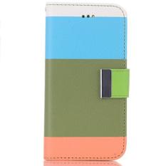 Promo Toko Warna Strip Pu Kulit Flip Case Untuk Iphone 6 Pemegang Peta Biru Hijau Oranye
