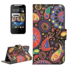 Colorful Abstrak Pola Horizontal Flip Magnetic Buckle Leather Case dengan Pemegang dan Slot Kartu dan Dompet untuk HTC Desire 310 -Intl