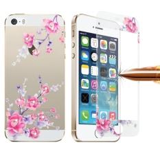 Berwarna Relief China Rose Pola Berlian Bertatahkan 0.3mm 9 H + Kekerasan Permukaan Layar Penuh Depan dan Belakang Ledakan -proof Tempered Kaca Film untuk IPhone 5 & 5 S