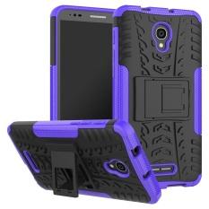 Kompatibel untuk Alcatel One Touch POP 4 Plus Dual Layer 2 In 1 Karet Kasar Hybrid Pelindung Armor Cover Case dengan Kickstand VROOM-Intl