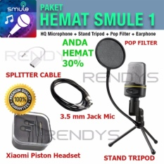 Condenser HQ Studio Microphone Paket Hemat 1 Smule (MIC + POP FILTER + TRIPOD + EARPHONE + SPLITTER)