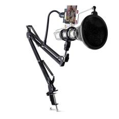 Condenser Microphone Stand Holder 360 Lazypod with Smartphone Clamp
