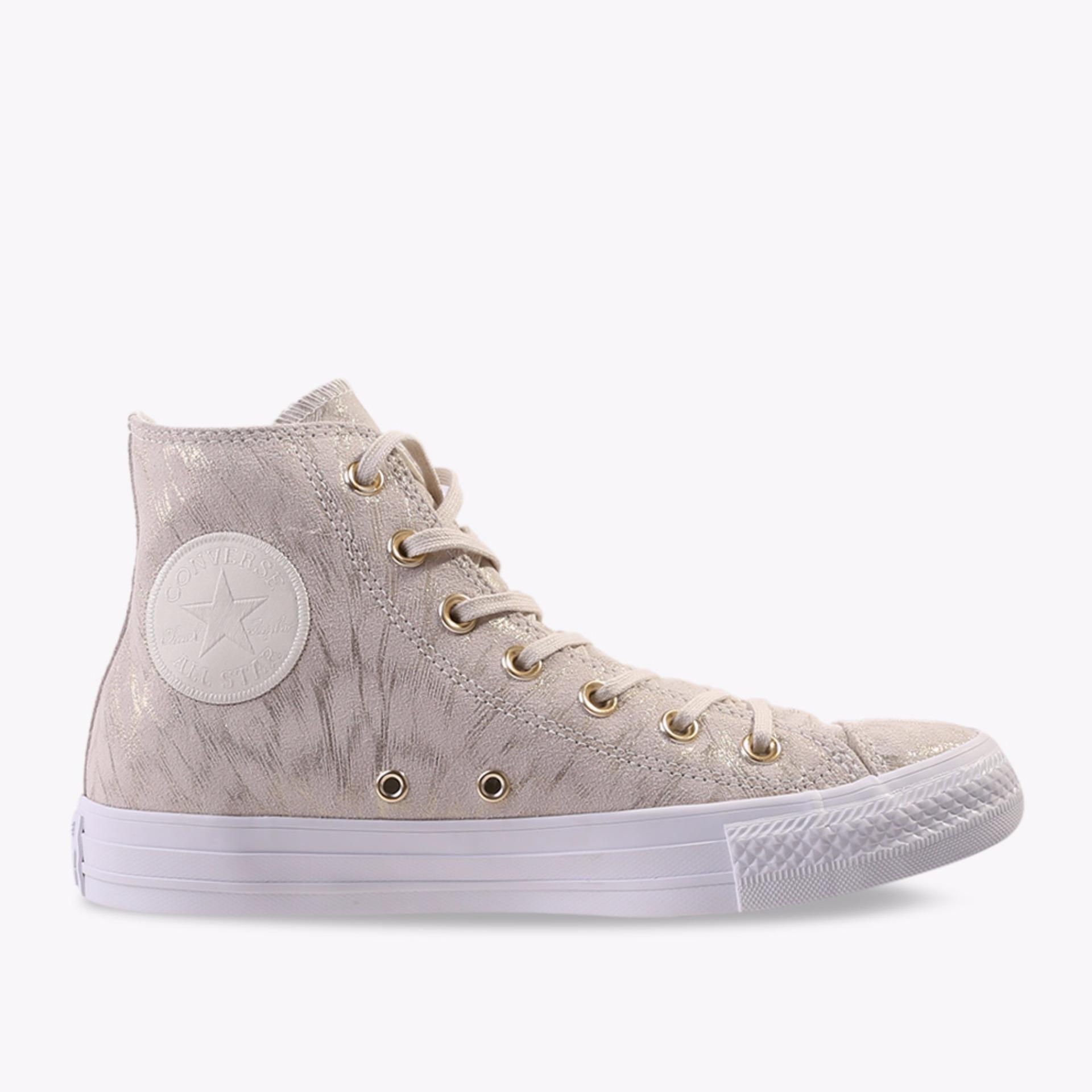 Converse Chuck Taylor All Star Shimmer Suede Hi Women's Sneakers Shoes - Putih