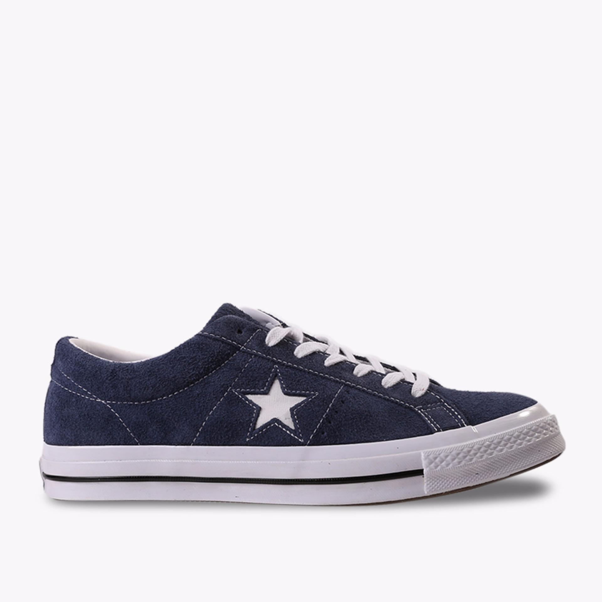 Harga Converse One Star Premium Suede Low Men S Sneakers Shoes Biru Tua Merk Converse