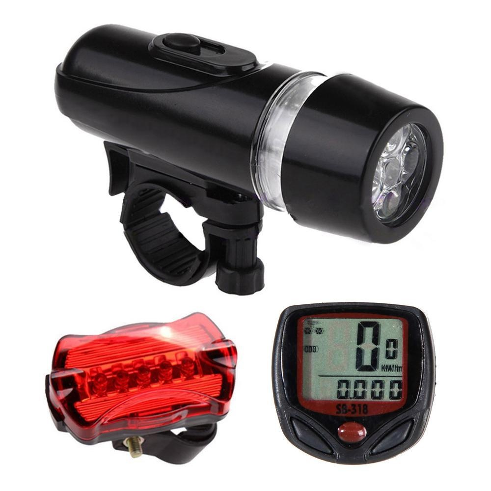 Jual Beli Coobonf Wired Bicycle Speedometer And 5 Led Mountain Bike Cycling Head Light 5 Led Bicycle Rear Lights Lamp Bicycle Accessories Set Intl
