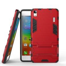 Cool Guard plastik plastik TPU Kickstand case untuk Lenovo A7000 / A7000 Plus / K3 Note - merah