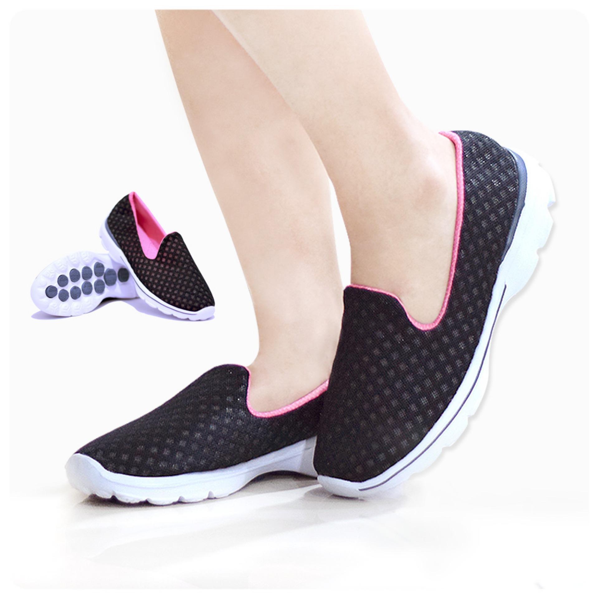 Jual Coolers Sepatu Wanita Pria Sneaker Sport Korean Style Black Pink Online