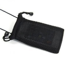 Cosmos Black Fashionable Grid Bernapas Case Bag/Leher Strap untuk Ponsel/Kamera Digital/MP3/MP4 /iphone 4 4 S 3 3Gs HTC ONE X LG MOTOROLA + Kabel Cosmos Tie-Intl