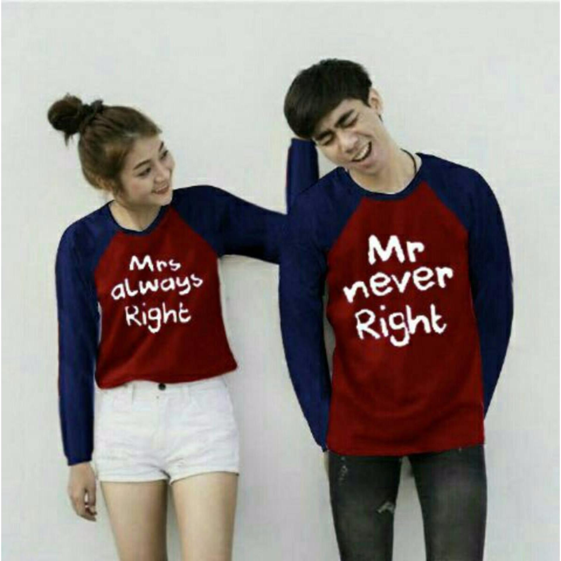 Harga Couple Lover T Shirt Couple Kaos Pasangan Mr Mrs Navy Maroon Lp New