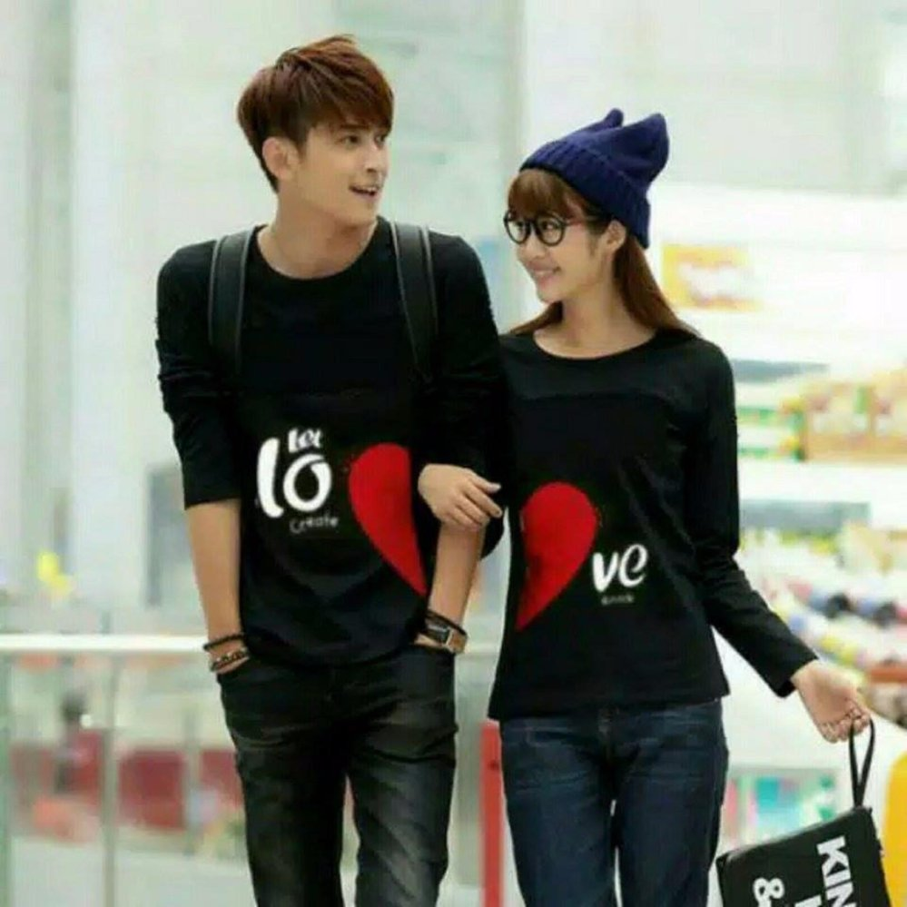 Couple lover - T-shirt couple / kaos pasangan LET LOVE black lp (PRIA+WANITA)  FASHION COUPLE  KAOS KAPEL  BAJU KEMBARAN