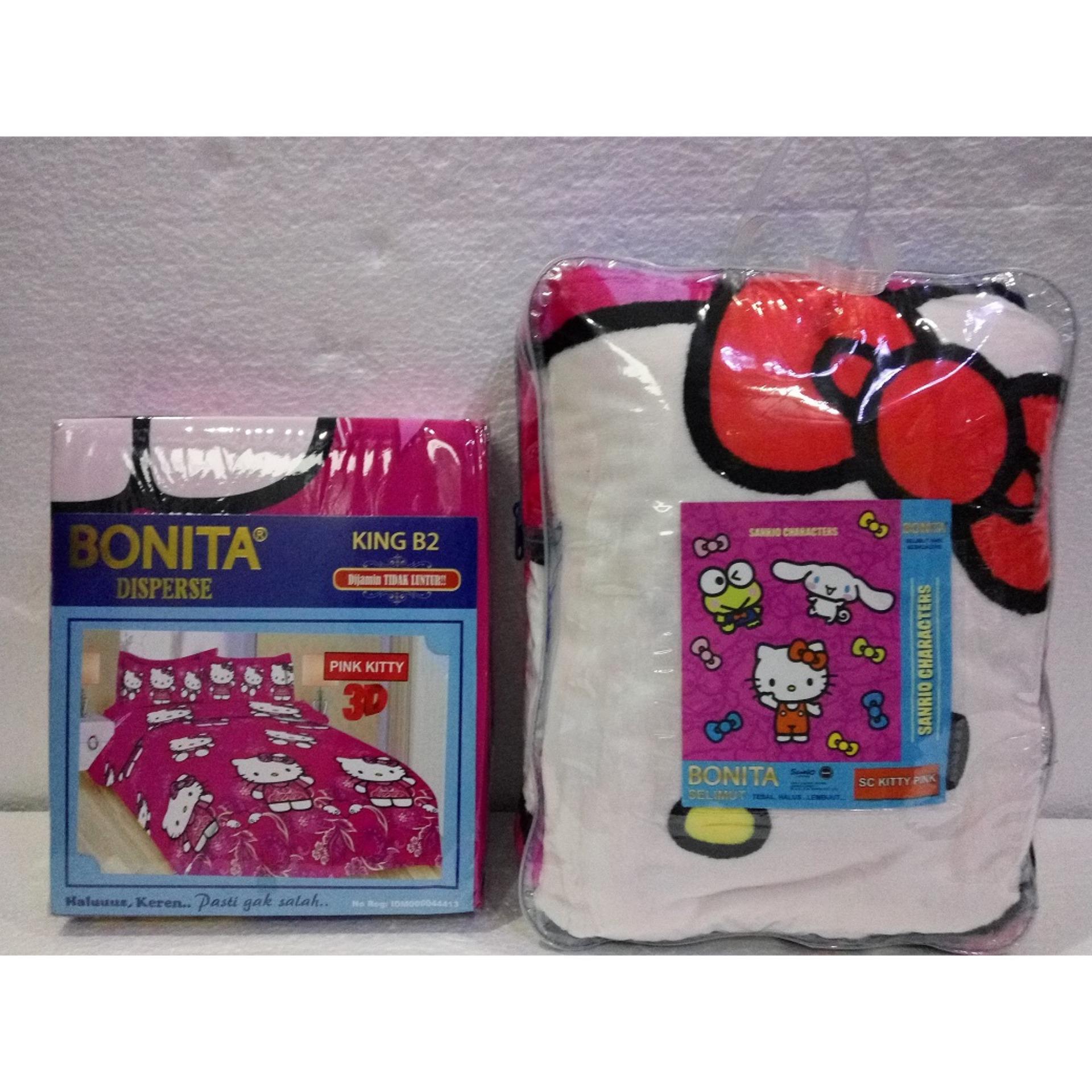 Spesifikasi Couple Sprei Dan Selimut Super Lembut Dan Tebal Merk Bonita Pink Kitty Murah