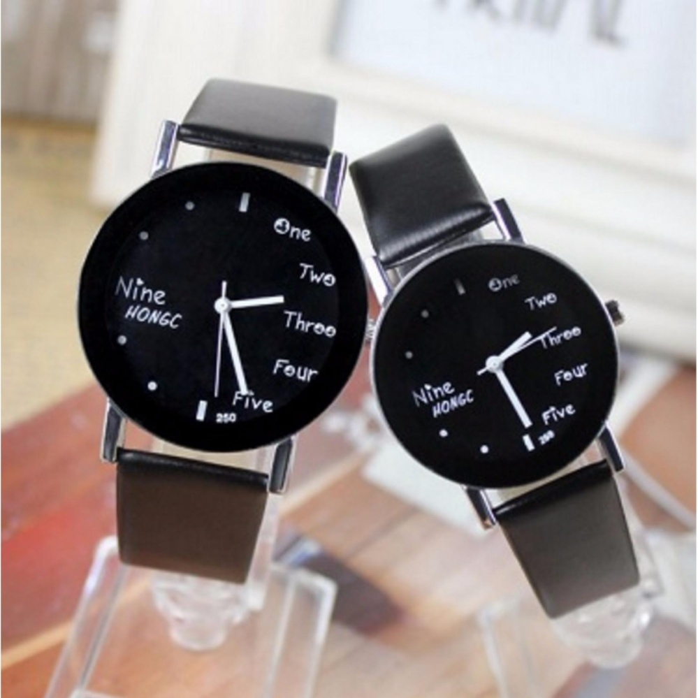 Couple Watches UNIQUE Korean Style Analog Watch Cowo Cewe Jam Tangan Kulit