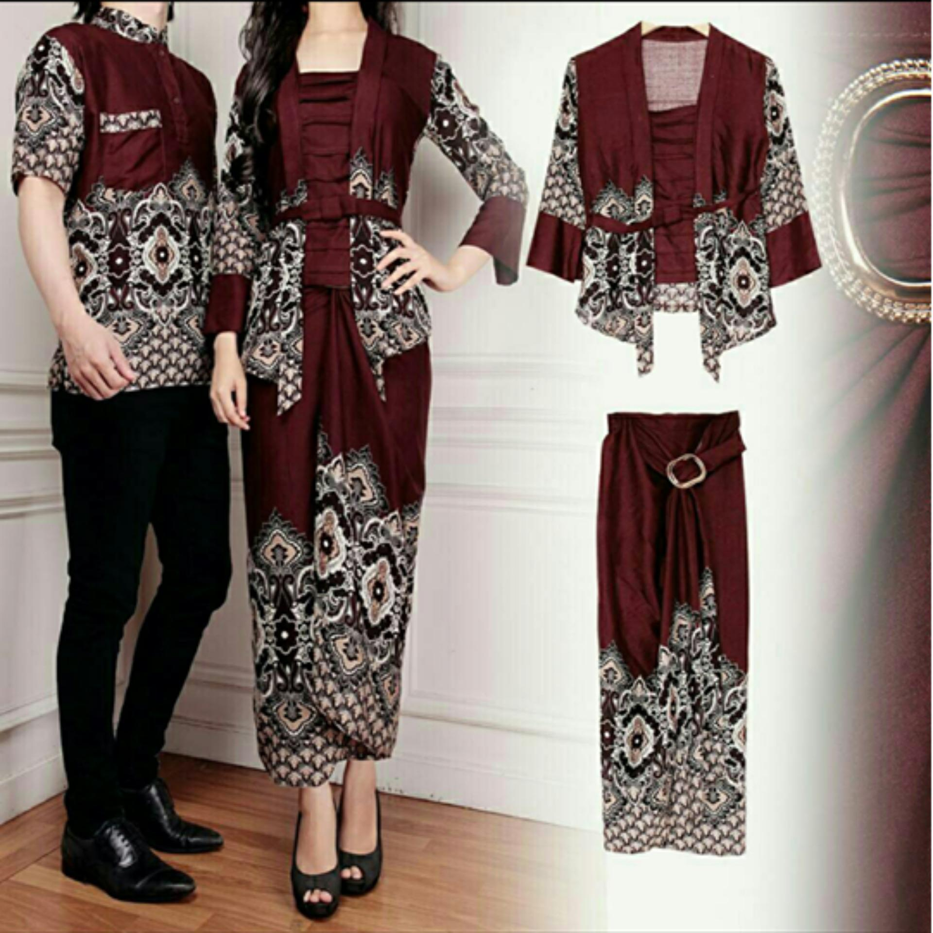 COUPLELOVER- KEMEJA COUPLE BATIK MAULIDA COKLAT