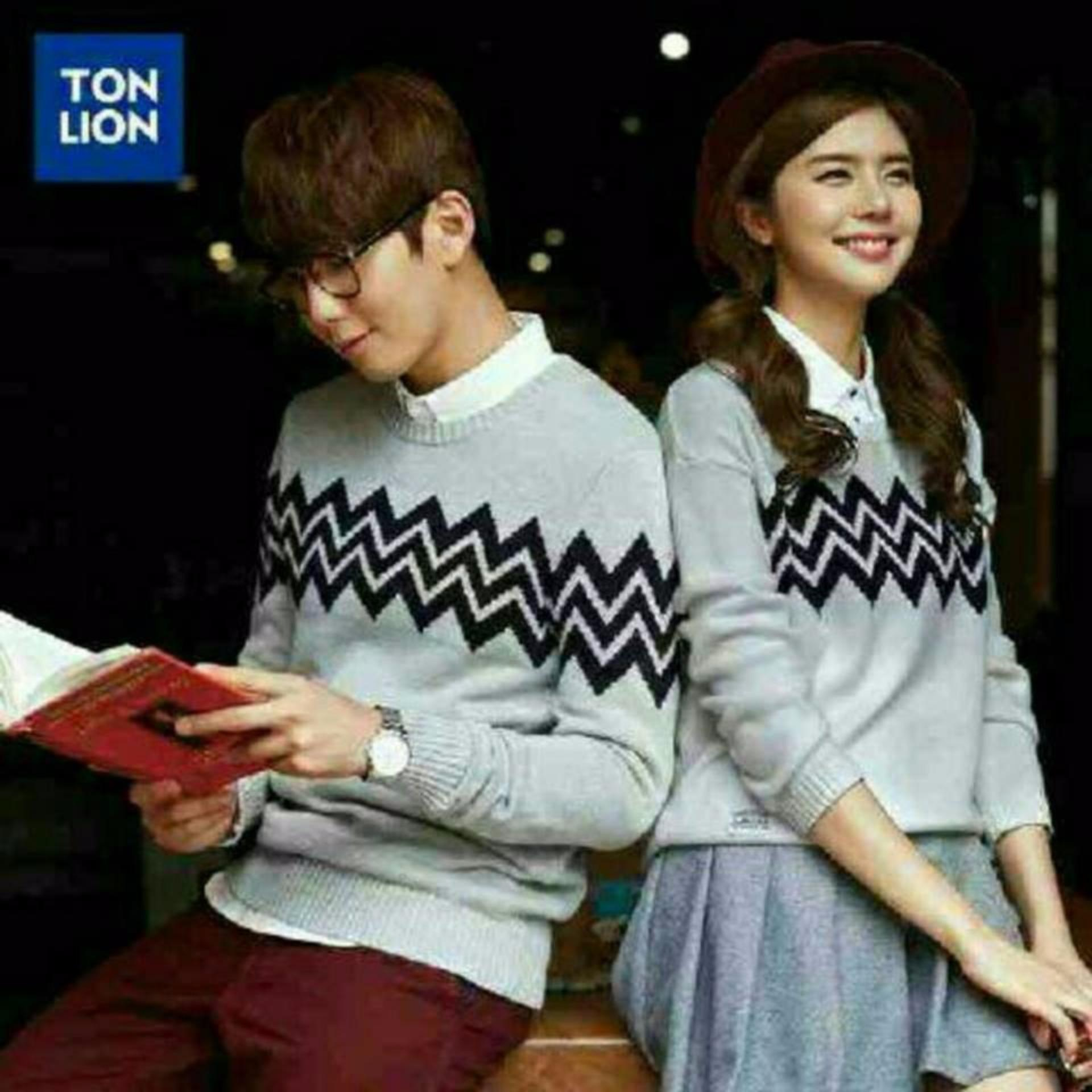 Spesifikasi Couplelover Sweater Pasangan Couple Zig Zag Abu Terbaru