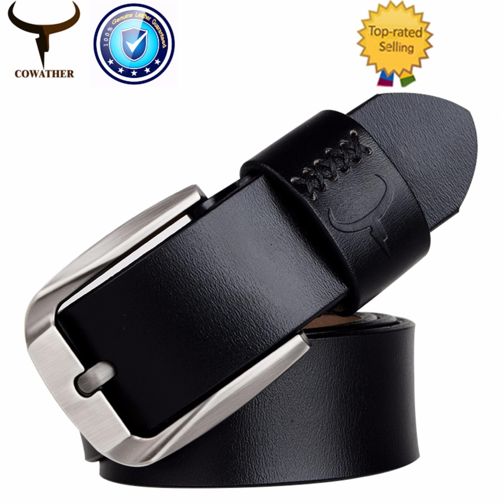 Cowather Kulit Asli Pria Ratchet Dress Belt Kulit Halus Reversible Bulu Edge Belt Original