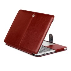Crazy Horse Leather Case Pelindung untuk MacBook Pro 13-inch (2016) A1706/A1708-Anggur Merah-Intl