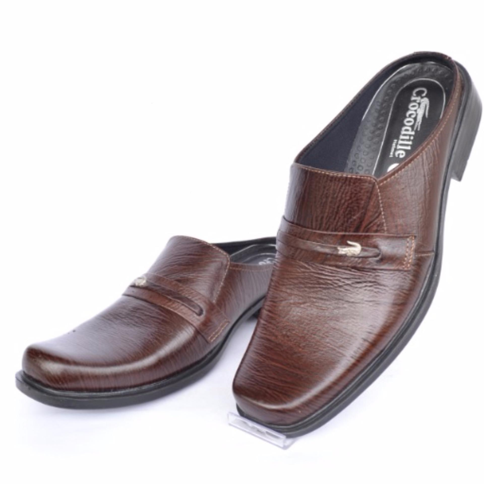 Crocodile Sepatu Sandal Selop - Sandal Sepatu Pria - Sandal Pria -Kulit Sapi Asli - A2 Coklat