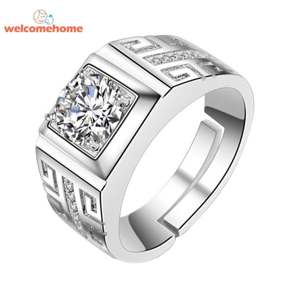 Crystal Cincin untuk Pria Cincin Pertunangan Zirkonia Pernikahan Cincin Perhiasan-Intl
