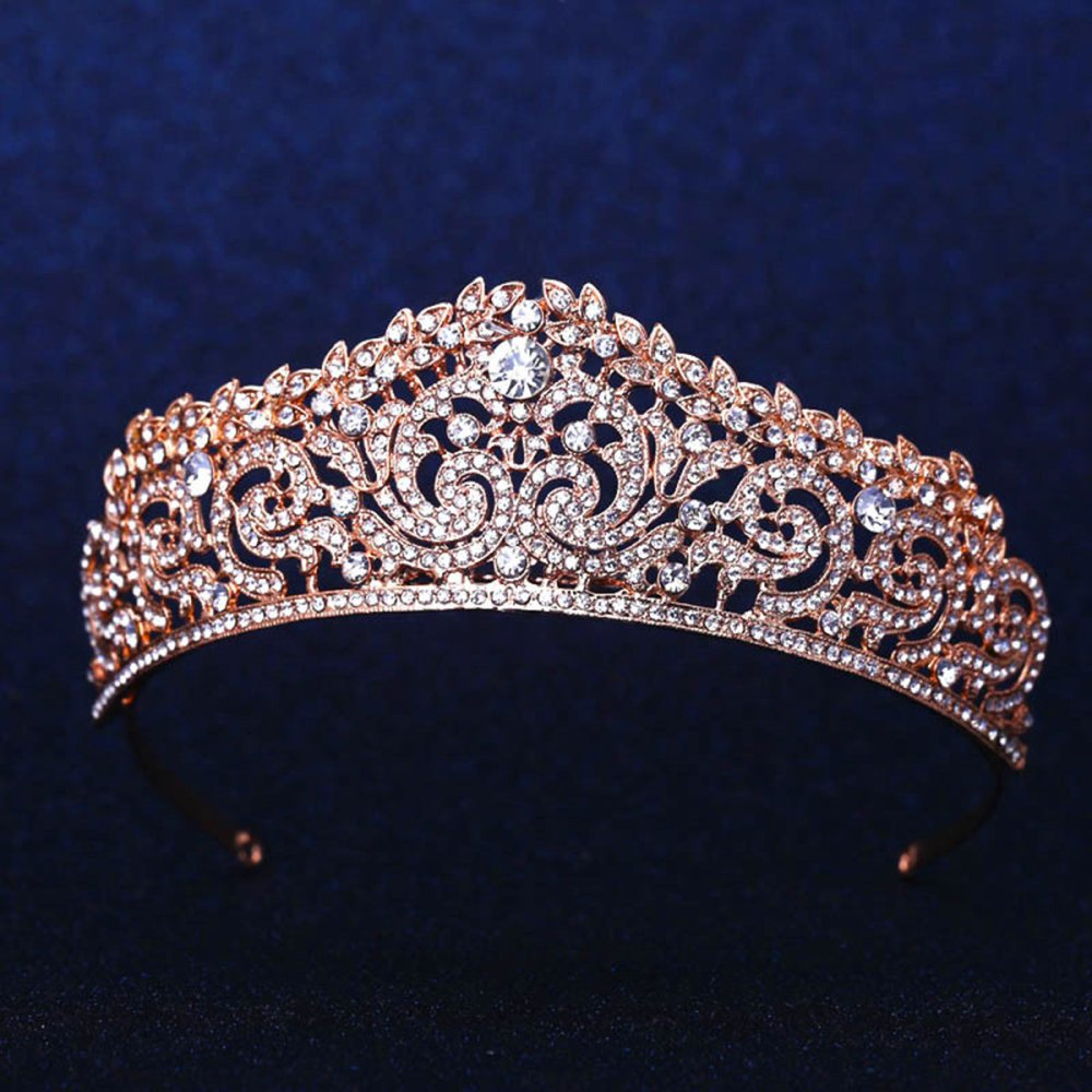 Review Pada Crystal Wedding Bridal Crown Rhinestone Party Pageant Tiara Hairband Rose Gold Intl