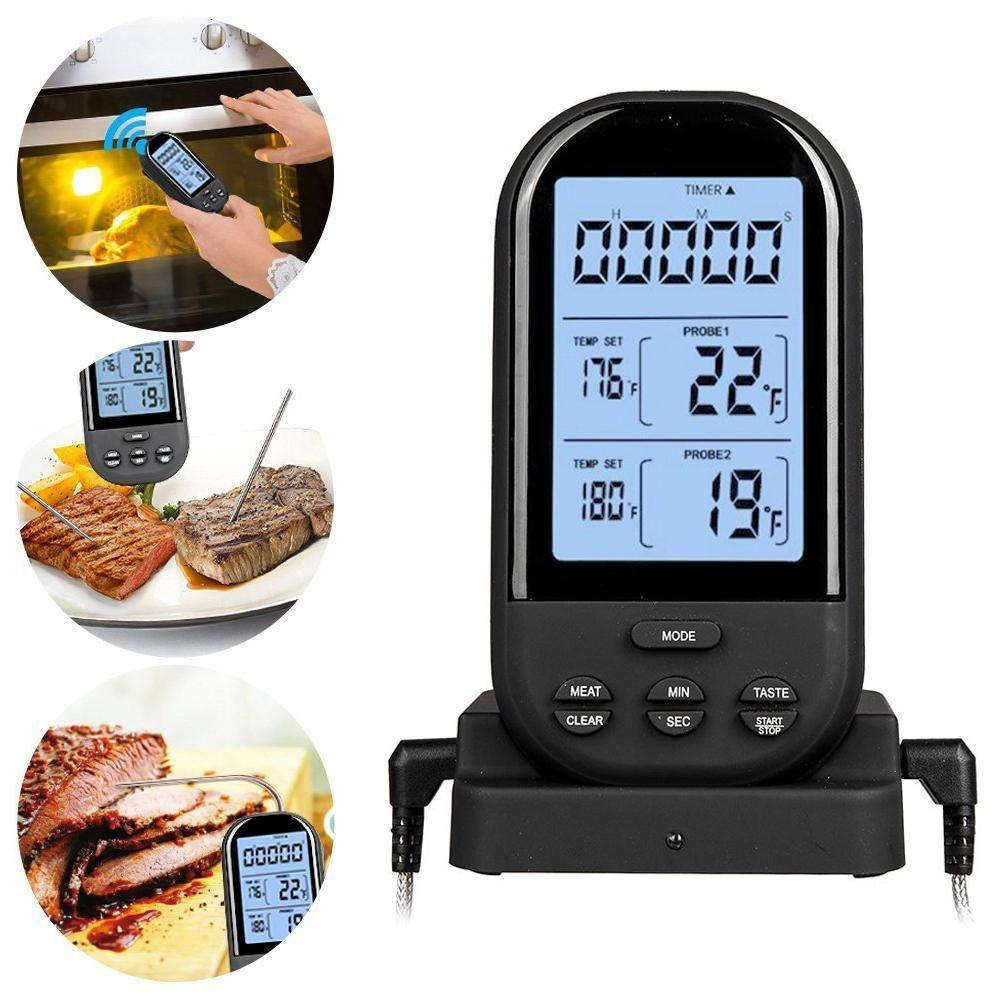 Review Terbaik Cusepra Wireless Remote Digital Memasak Termometer Daging Termometer Alat Pengasap Dengan Dual Probe Untuk Grill Bbq Thermometer Monitor Makanan Dari 70 Meter Hitam Intl