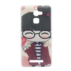Cute Girl Clear Edge Hard Plastic Painting Back Cover Case For Coolpad Y90 (Clear)