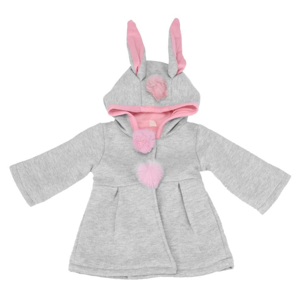 Cute Rabbit Ear Hooded Baby Girls Coat Tops Kids Pakaian Luar Anak Pakaian-Intl
