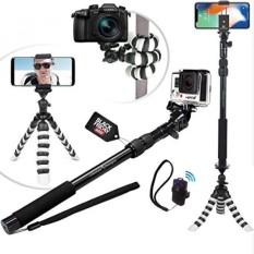 CYBER KAMIS DEAL-NEW HD Fleksibel Tripod & Selfie Stick 4-In-1 Foto/Video Bundle W/Bluetooth Remote-Menciptakan Alam Ini dengan Baik Kit untuk IPhone 7 & 6 Plus, samsung S8, GOPRO HERO 5 & Kamera-Intl