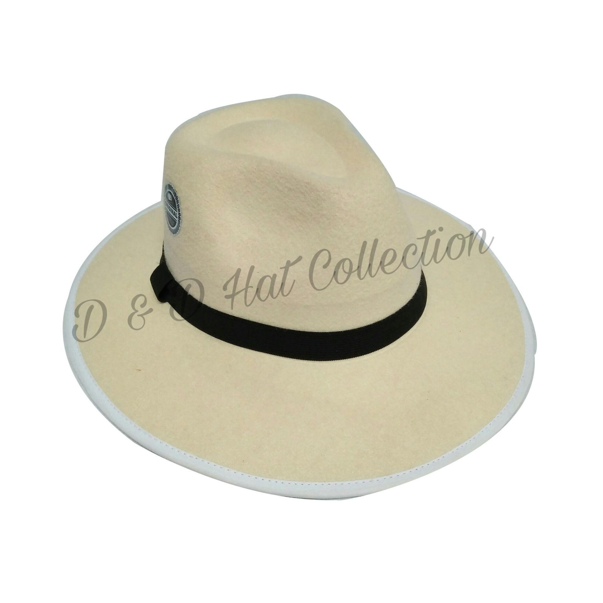 D & D Hat Collection Fedora Panama Wide Brim Hat Gangster Cap / Topi Fedora Brim Lebar - Putih Tulang