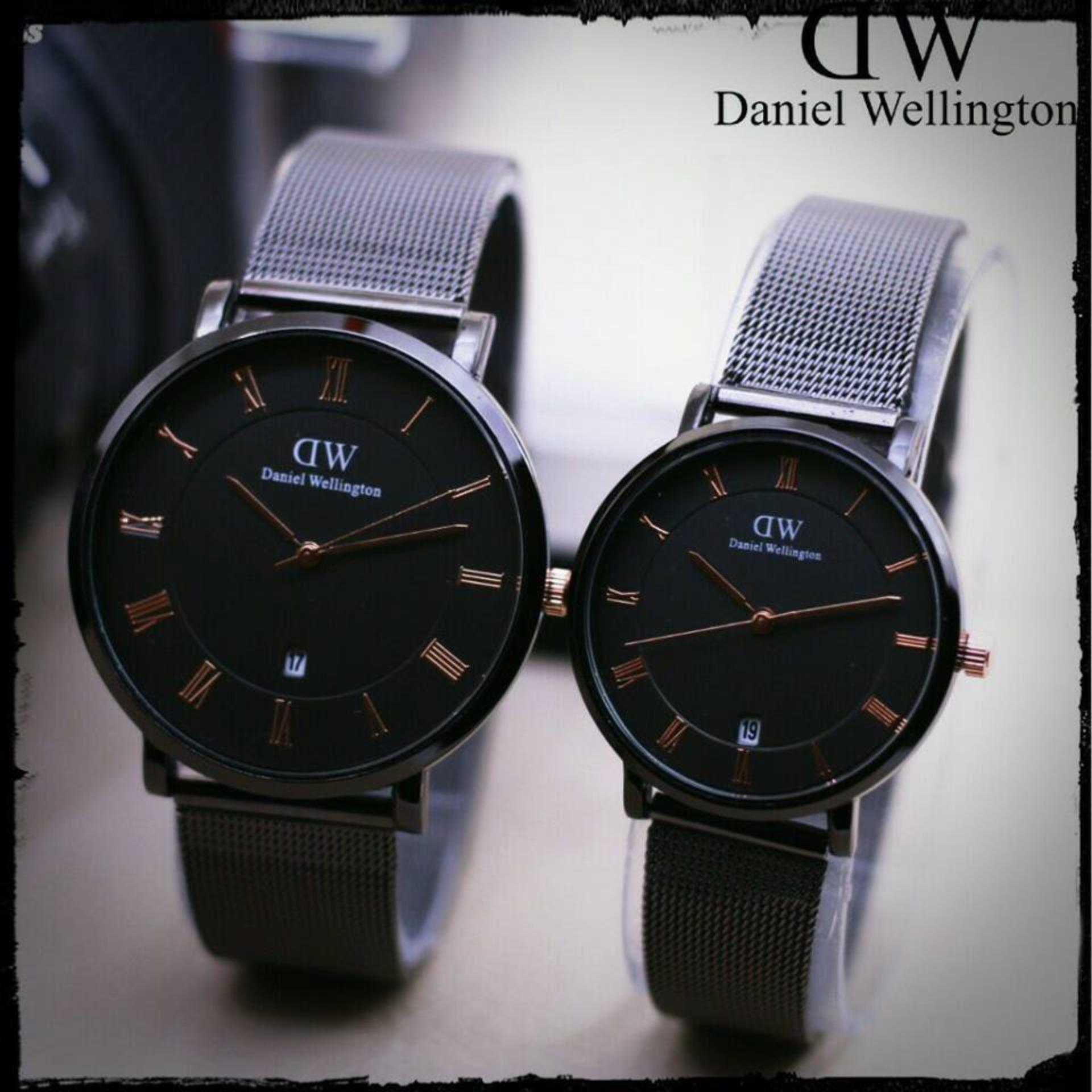 D.we -Jam tangan Couple - design Exclusive - Black - Strap Pasir