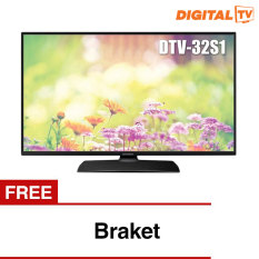 "Daewoo 32"" LED Digital HD TV - Hitam (Model 32S1) + Gratis Bracket"
