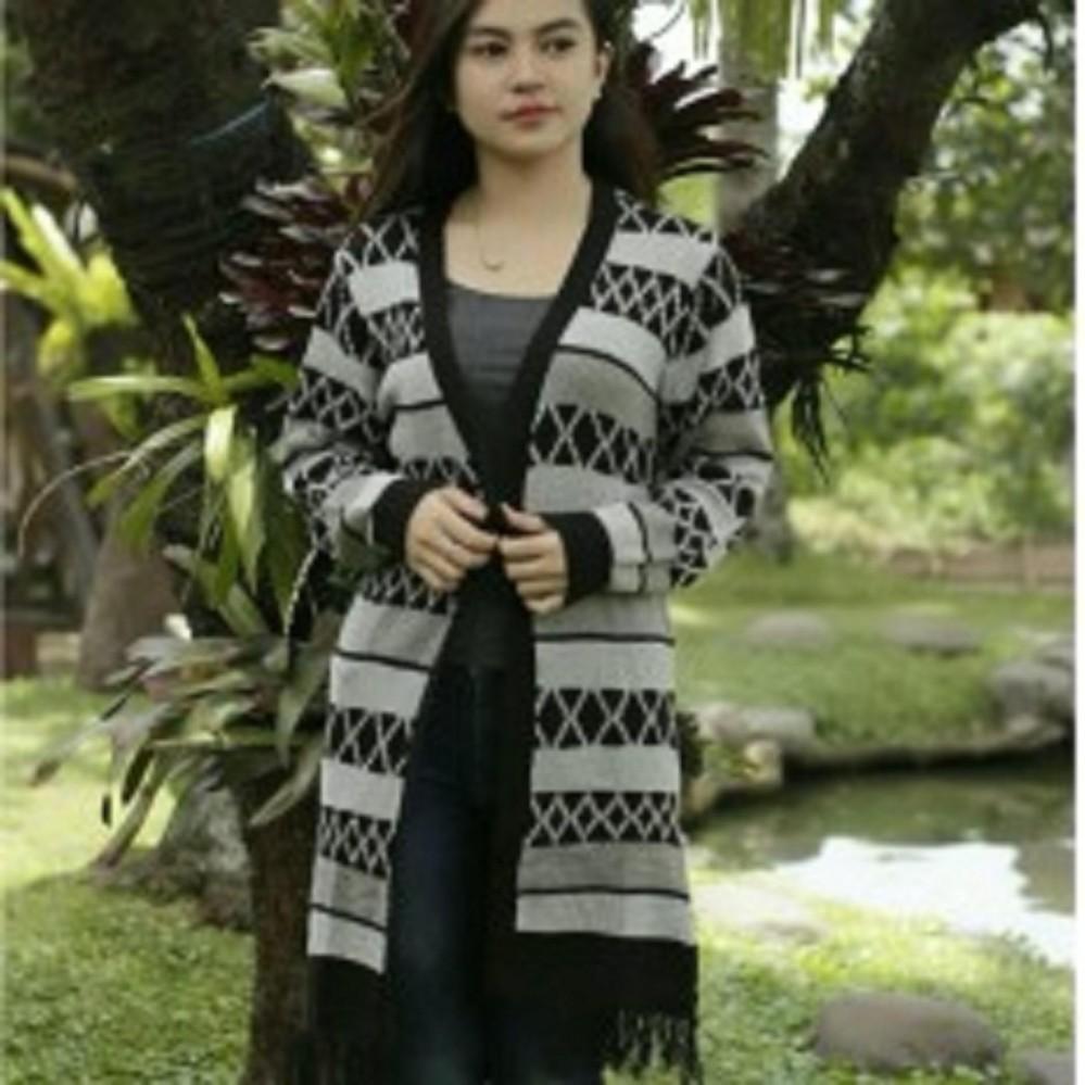 Sweater Rajut Ariel Dengan Hoodie Pria Banyak Warna Daffa Cardigan Wanita Long Hinata Cardy Tribal