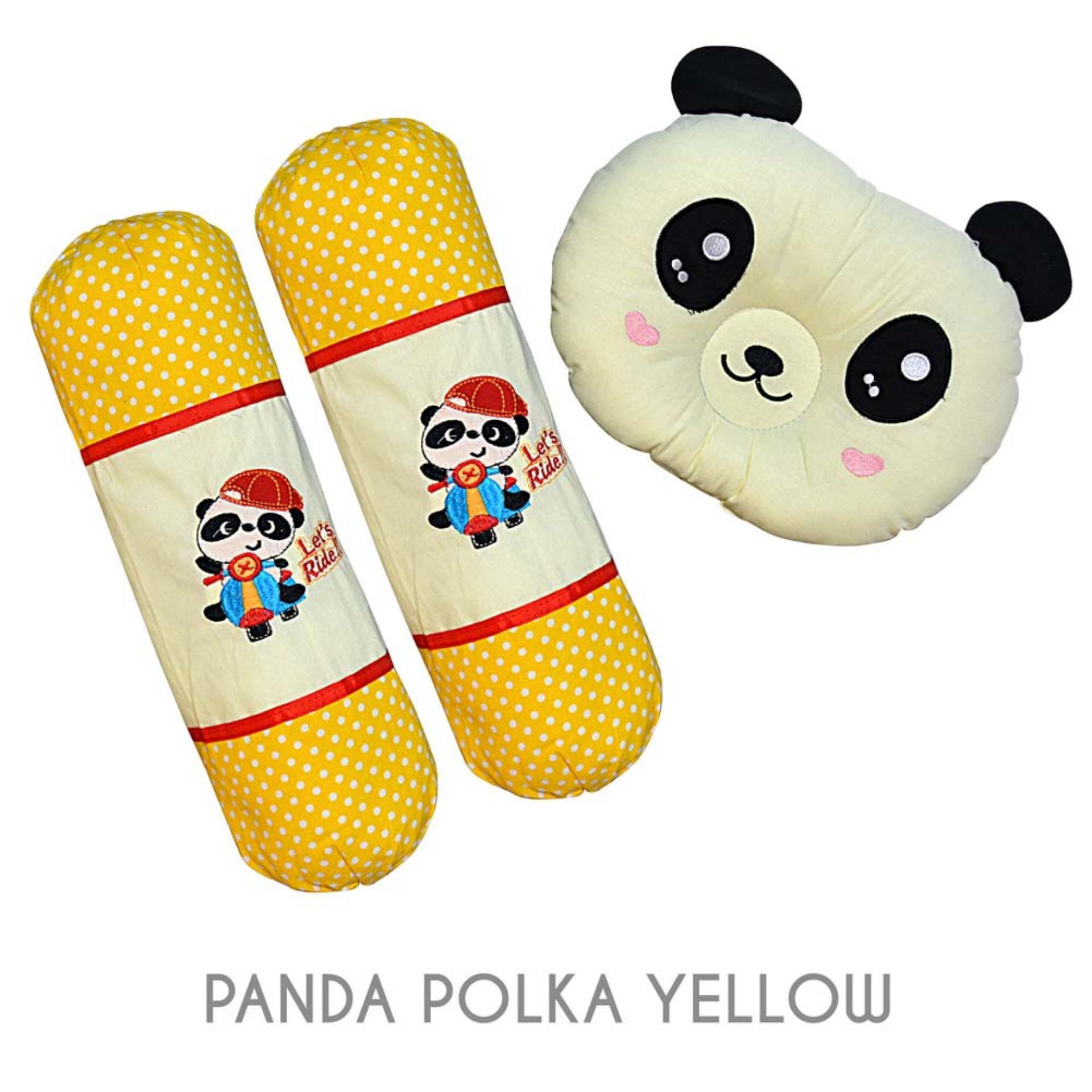 Jual Darby Set Bantal Guling Bordir Bayi Motif Panda Polka Yellow Ori