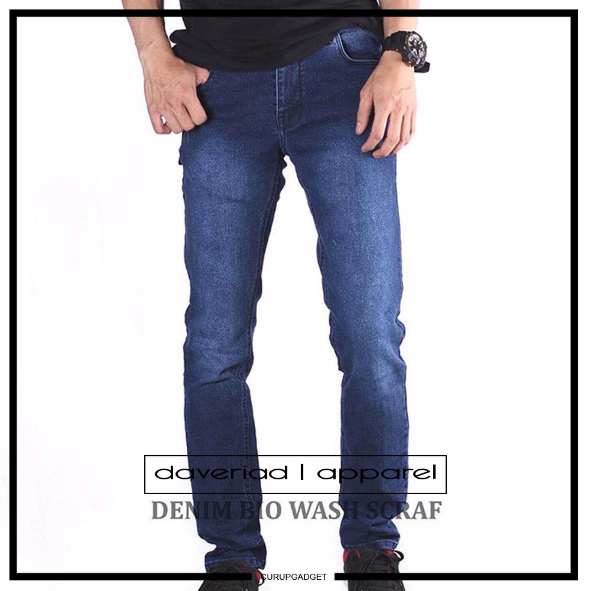 Beli Daveriad Celana Jeans Pria Stretch Denim Trousers Dengan Kartu Kredit