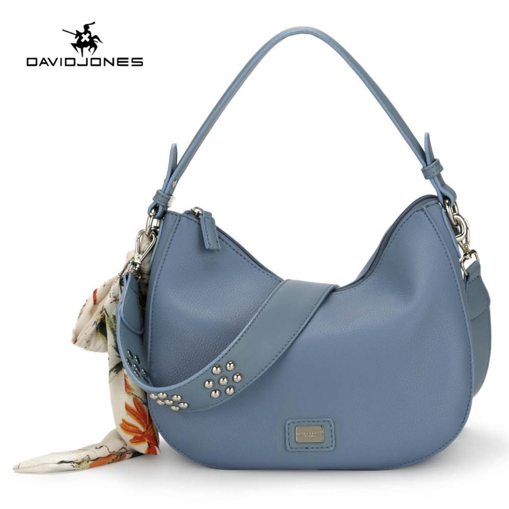 Beli Davidjones Women Mini Hobo Ribbon Scarf Shoulderbag Pu Femal Handbag Blue Intl David Jones Asli