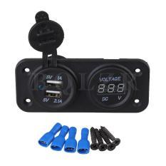 Harga Dc 12 24 V Mobil Digital Pengukur Tegangan Volt Charger Usb Ganda Panel Belakang Hitam Merk Oem