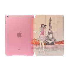 De Cheng for Apple iPad Air Non detachable Smart Cover withBackCase Colored Drawing Style Girl Pattern - intl