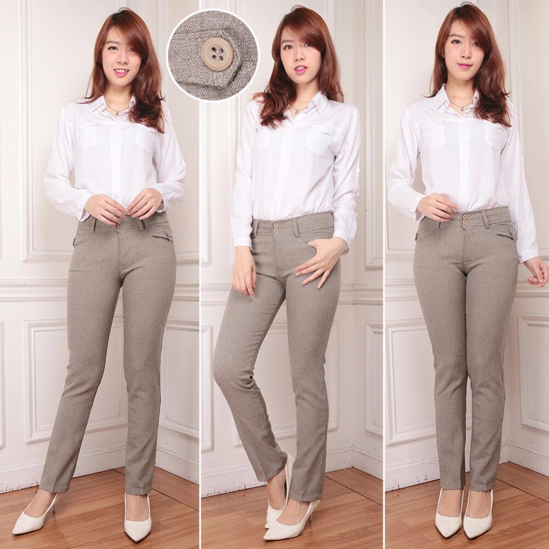 Spesifikasi De Most Celana Bahan Wanita Jahitan Rapi Murah Cream Beserta Harganya