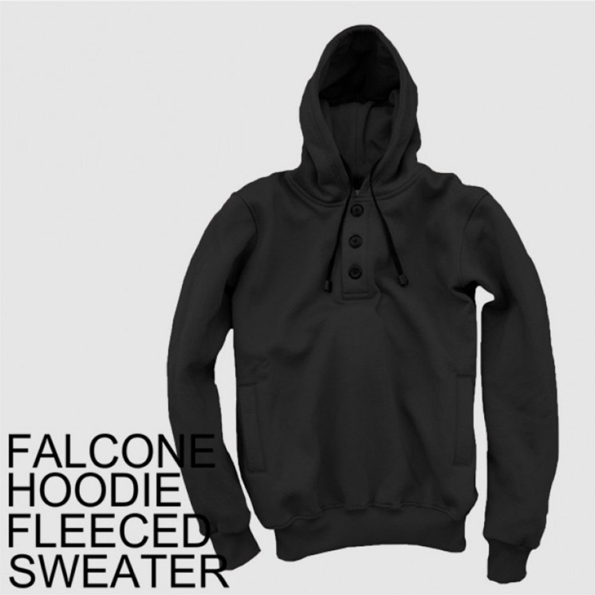 Harga Dections Jaket Sweater Polos Hoodie Jumper Falcone Hitam Dections Baru