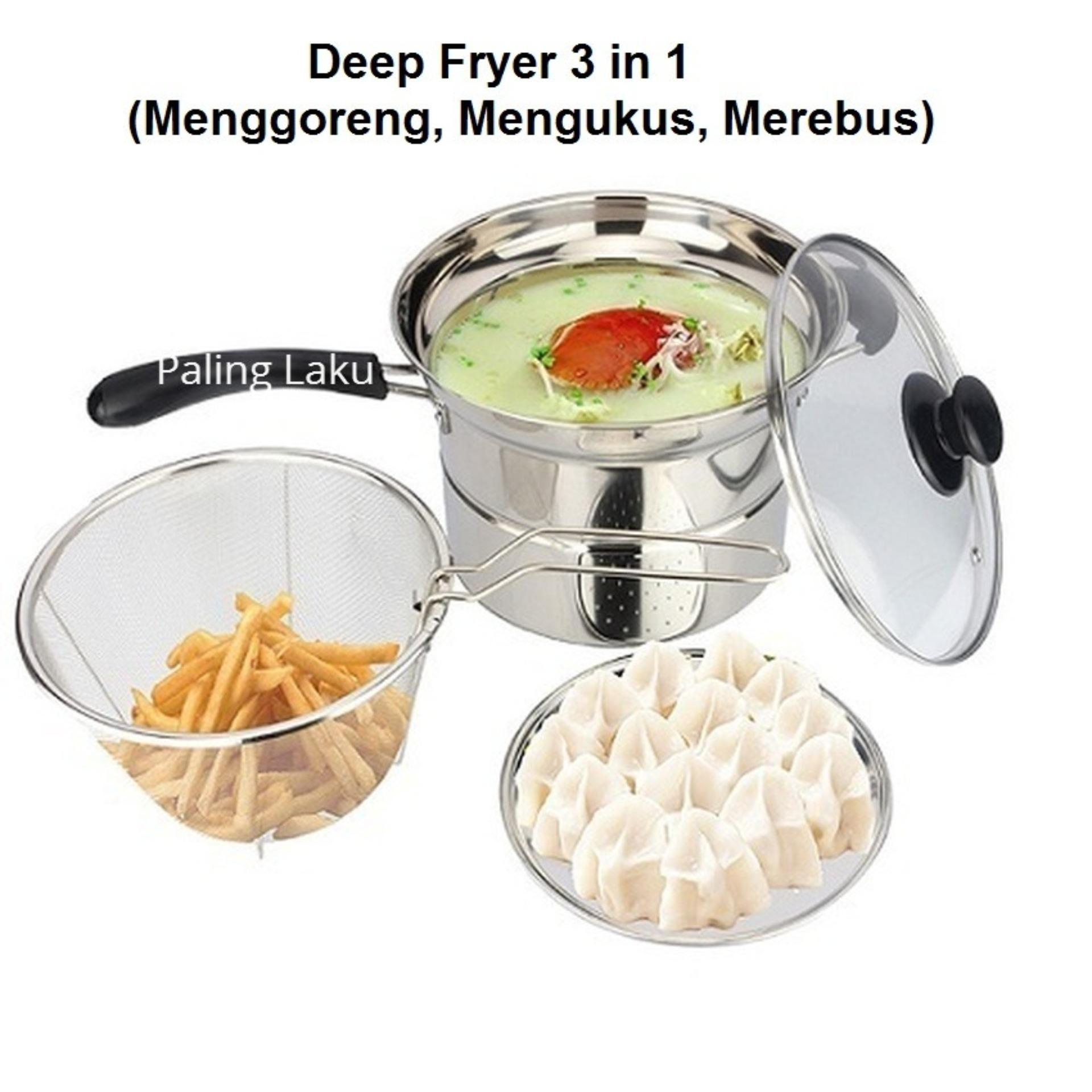 Toko Deep Fryer 22 Cm Multifungsi 3 In 1 Stainless Paling Laku