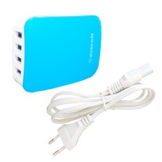 Delcell Adaptor 4 Port USB Charger Real 6 Amper - Light Blue