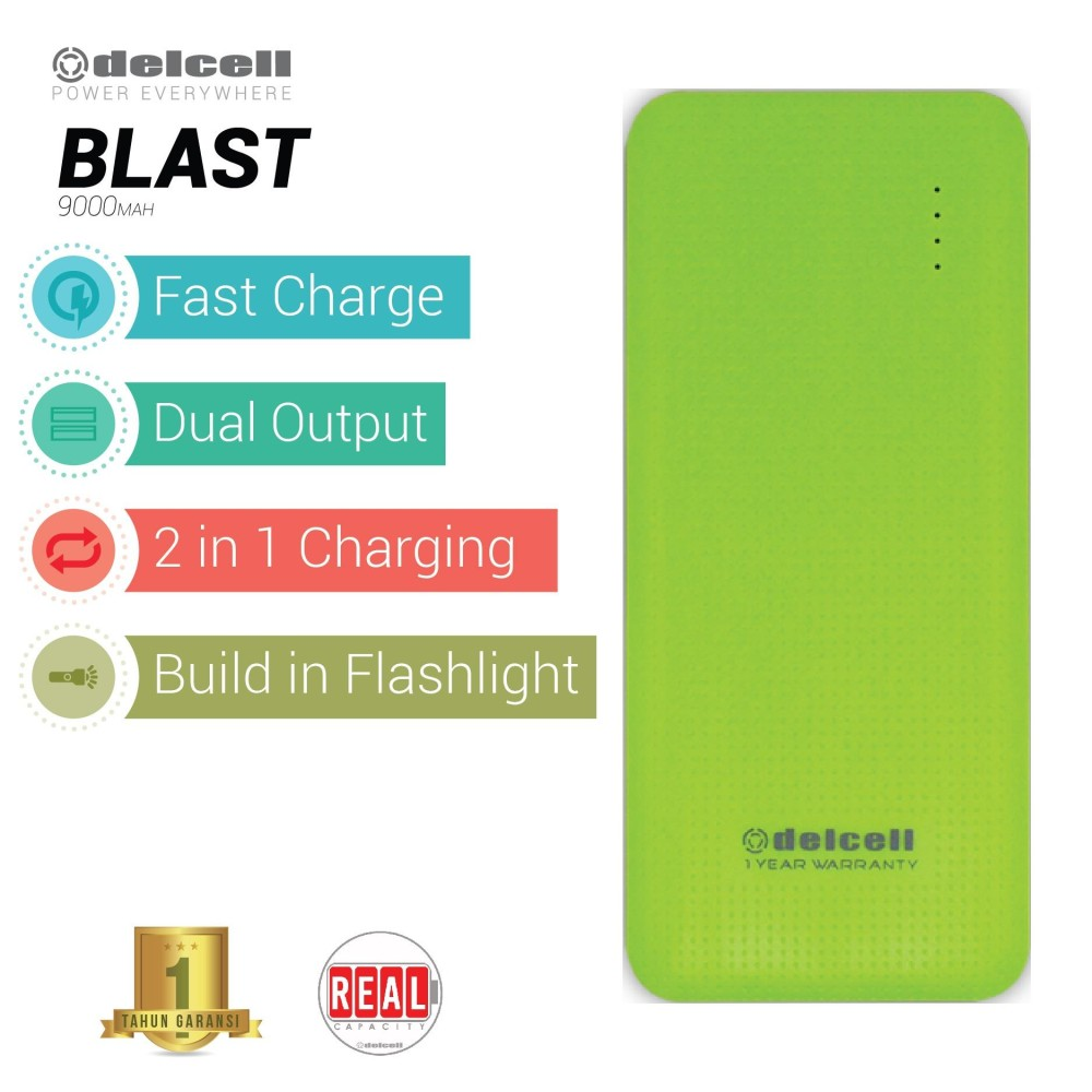Situs Review Delcell Blast Powerbank 9000Mah Real Capacity Green