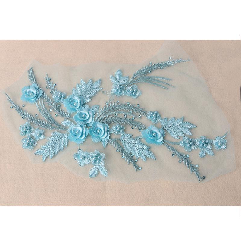 Bunga Halus Embroideried, Kain Renda Pengantin Pernikahan Gaun Jahit Bordiran-Internasional