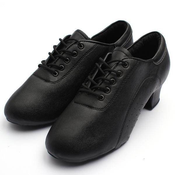 Promo Dewasa Mens Hitam Latin Ballroom Mid Heel Tango Salsa Waltz Menari Sepatu Kulit Hitam Intl Akhir Tahun