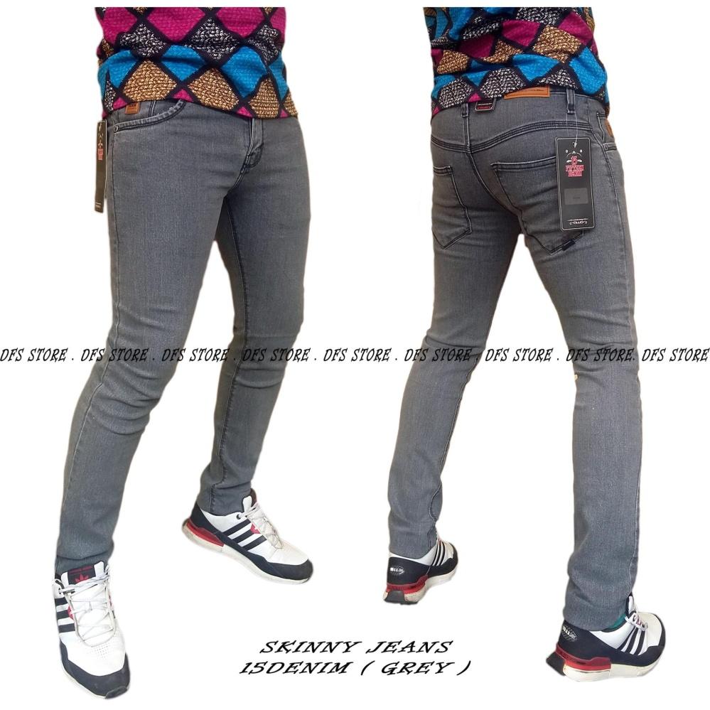 Spesifikasi Dfs 15Denim Celana Jeans Denim Skinny Slimfit Pensil Pria Grey Murah Berkualitas