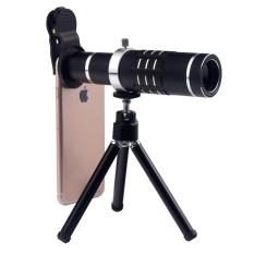 DHN Ponsel Lensa 18X Optik Telephoto Lensa Perlengkapan dengan Fleksibel Tripod dan Klip untuk Sebagian Besar Ponsel Pintar (Hitam) -Internasional